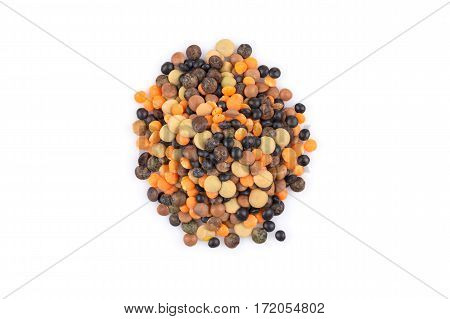 Lentils Mix On A White Background