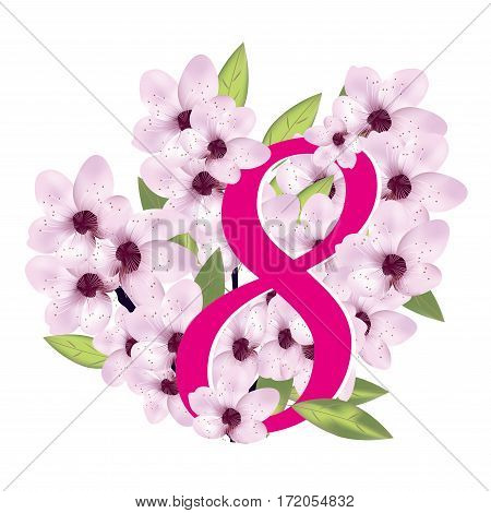 Cherry or sakura blossom with number eight. 8 March International Women's Day. Vector illustration.