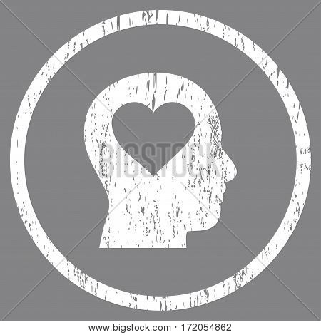 Love In Head grainy textured icon for overlay watermark stamps. Rounded flat vector symbol with unclean texture. Circled white ink rubber seal stamp with grunge design on a gray background.