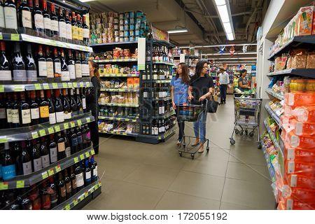 HONG KONG - CIRCA NOVEMBER, 2016: inside Taste supermarket. Taste is a chain supermarket in Hong Kong owned by AS Watson
