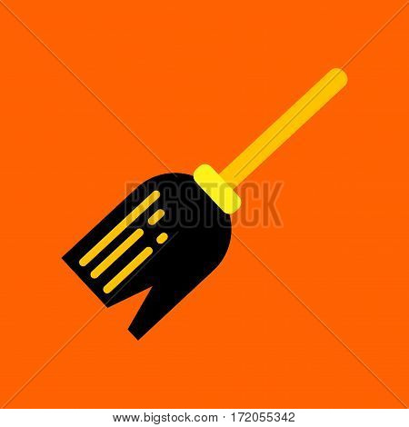 flat icon on stylish background halloween Witch's broom