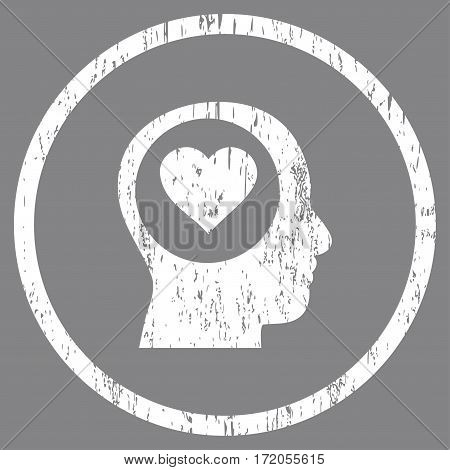 Love Thinking Head grainy textured icon for overlay watermark stamps. Rounded flat vector symbol with unclean texture. Circled white ink rubber seal stamp with grunge design on a gray background.