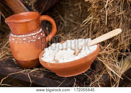 Dairy products on wooden table. Cheese and milk on the table in an earthenware dish. Food background.
