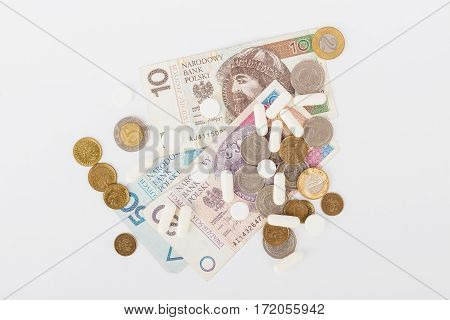 Conceptual Image: Few Polish Zloty And A Little Pills