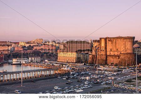 Naples, Italy - March 13, 2017: Castel dell'Ovo (Egg Castle) Roman fortress.