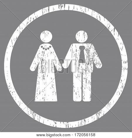 Newlyweds grainy textured icon for overlay watermark stamps. Rounded flat vector symbol with dirty texture. Circled white ink rubber seal stamp with grunge design on a gray background.