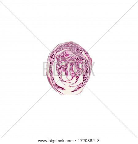 Violet Cabbage Isolated On The White