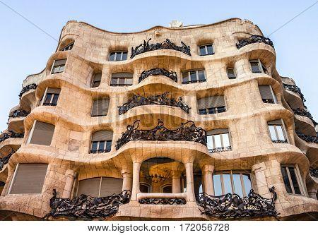 Barcelona, Spain - Jan 19, 2017: Famous house Casa Mila (La Pedrera) by famous Gaudi.
