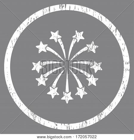 Spherical Fireworks grainy textured icon for overlay watermark stamps. Rounded flat vector symbol with unclean texture. Circled white ink rubber seal stamp with grunge design on a gray background.