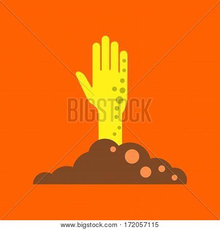 flat icon on stylish background halloween zombie hand