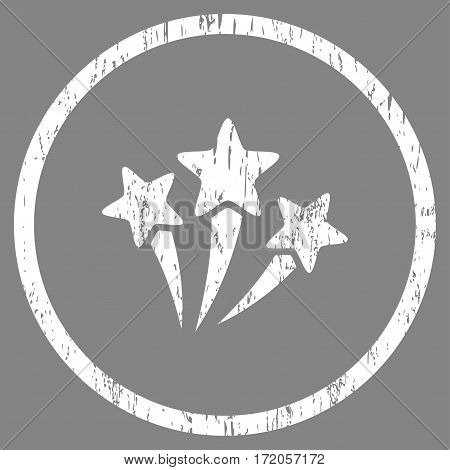 Star Fireworks grainy textured icon for overlay watermark stamps. Rounded flat vector symbol with scratched texture. Circled white ink rubber seal stamp with grunge design on a gray background.