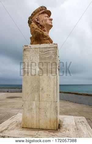 Cadiz, Spain - April 20, 2017: Monument to Paco Alba seafront