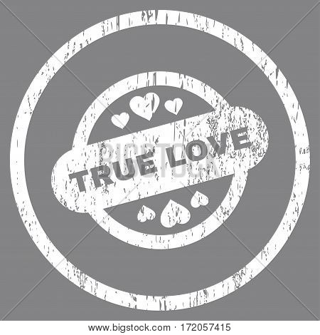 True Love Stamp Seal grainy textured icon for overlay watermark stamps. Rounded flat vector symbol with unclean texture. Circled white ink rubber seal stamp with grunge design on a gray background.