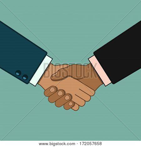Shaking hands business vector illustration. Business handshake.