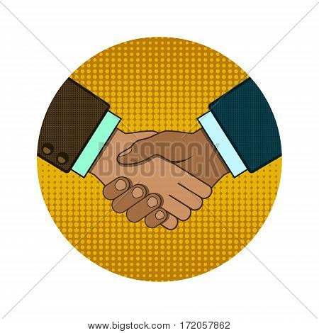 Shaking hands business vector circle logo in pop art retro style illustration.