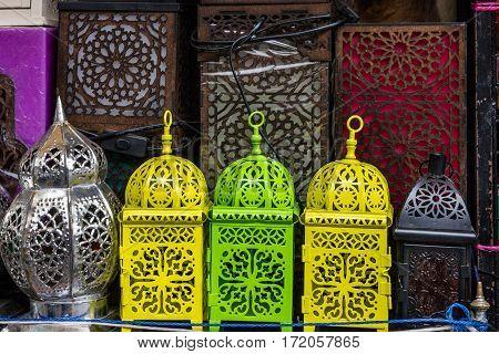 arabic souvenirs lamps. Moroccan oriental traditional souvenirs
