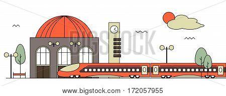Suburban train station flat design illustration. Railway design concept