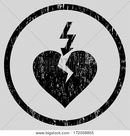 Break Heart grainy textured icon for overlay watermark stamps. Rounded flat vector symbol with dust texture. Circled black ink rubber seal stamp with grunge design on a light gray background.