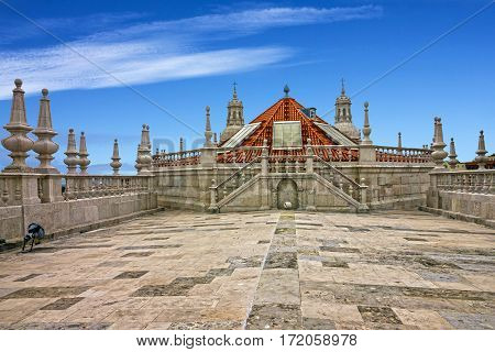 Viewpoint on the roof of famous Monastery Saint Vicente de Fora Monastery, Lisbon, Portugal