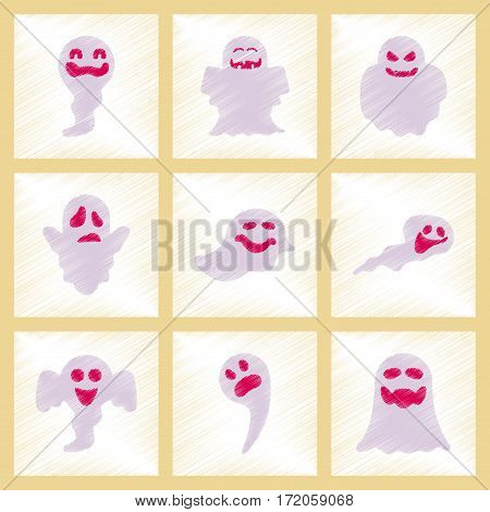 assembly flat shading style icons of Halloween ghosts