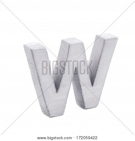 Single sawn wooden letter W symbol coated with paint isolated over the white background