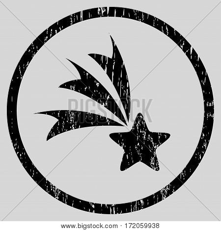 Falling Star grainy textured icon for overlay watermark stamps. Rounded flat vector symbol with dirty texture. Circled black ink rubber seal stamp with grunge design on a light gray background.