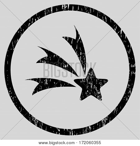 Falling Star grainy textured icon for overlay watermark stamps. Rounded flat vector symbol with unclean texture. Circled black ink rubber seal stamp with grunge design on a light gray background.
