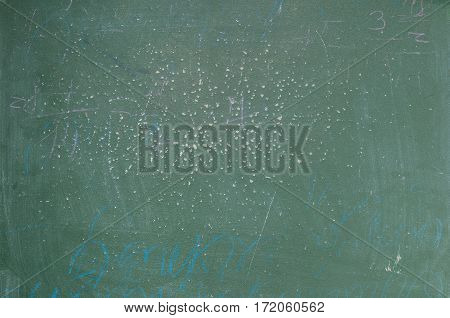 Old shabby green school board with chalk drawing