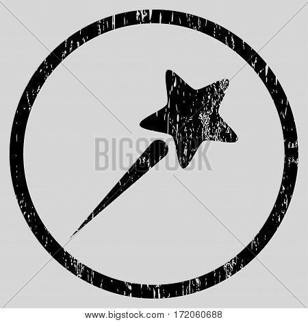 Flying Star grainy textured icon for overlay watermark stamps. Rounded flat vector symbol with unclean texture. Circled black ink rubber seal stamp with grunge design on a light gray background.