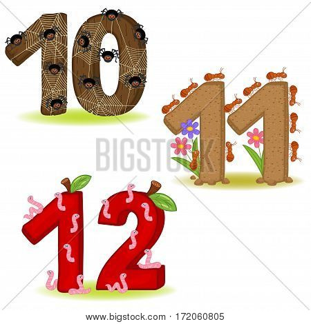 set of numbers with number of animals from 10 to 12 - vector illustration, eps
