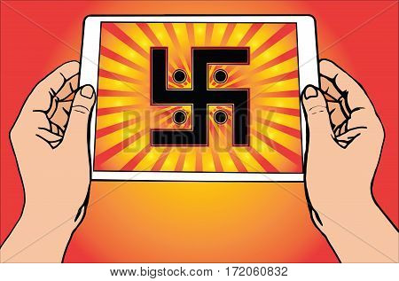 Hands holding a tablet on which is depicted the most important symbol in Jainism - Sun Swastika. Gradient red and gold background, red and gold sun rays, vector