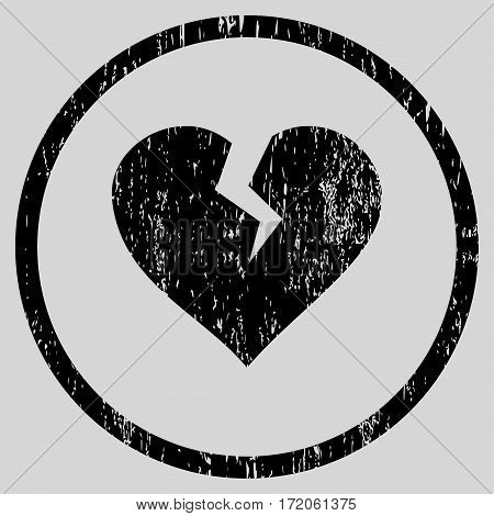 Heart Break grainy textured icon for overlay watermark stamps. Rounded flat vector symbol with dust texture. Circled black ink rubber seal stamp with grunge design on a light gray background.
