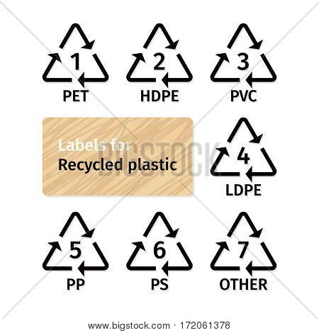 Labels for recycling plastic types. Ecological signs for tare marking. Waste signs for plastic material.