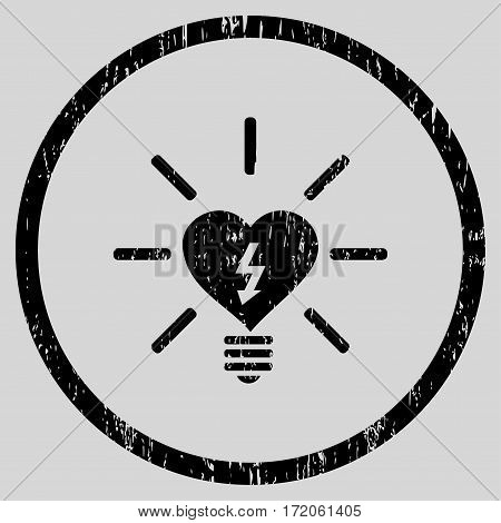 Heart Electric Bulb grainy textured icon for overlay watermark stamps. Rounded flat vector symbol with dust texture. Circled black ink rubber seal stamp with grunge design on a light gray background.