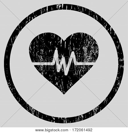 Heart Pulse grainy textured icon for overlay watermark stamps. Rounded flat vector symbol with unclean texture. Circled black ink rubber seal stamp with grunge design on a light gray background.