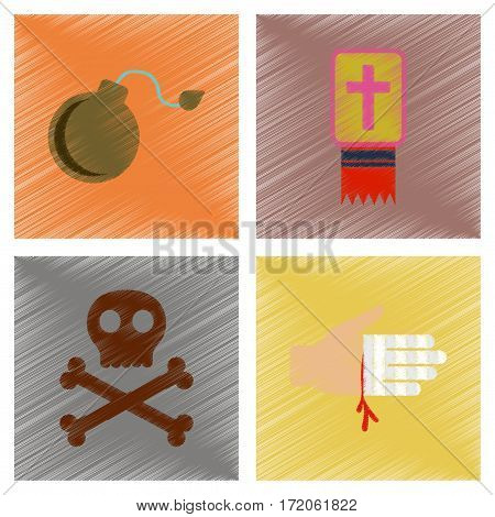 assembly flat shading style icons of Halloween symbols