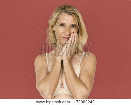 Blonde Woman Studio Shoot Staring