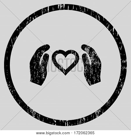Love Care Hands grainy textured icon for overlay watermark stamps. Rounded flat vector symbol with unclean texture. Circled black ink rubber seal stamp with grunge design on a light gray background.