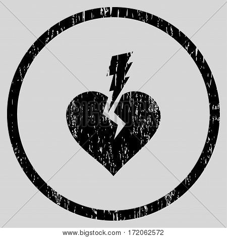 Love Heart Crash grainy textured icon for overlay watermark stamps. Rounded flat vector symbol with scratched texture.