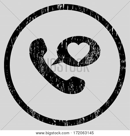 Love Phone Message grainy textured icon for overlay watermark stamps. Rounded flat vector symbol with unclean texture.