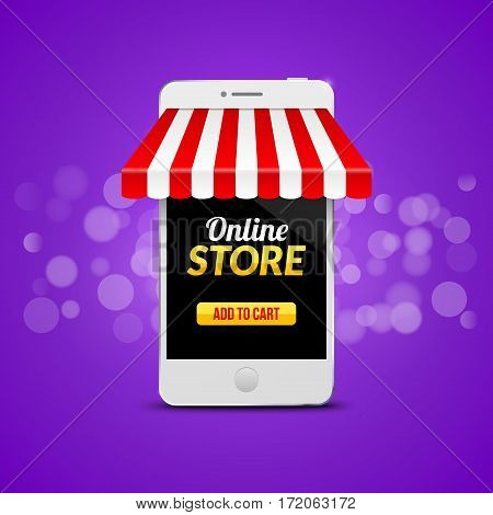 Mobile Online Store concept. Vector illustration business design. Electronic online shop market. Digital marketing.