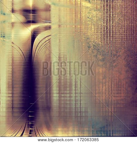 Abstract dirty texture or grungy background. With old style decorative elements and different color patterns: yellow (beige); brown; gray; purple (violet); pink; cyan