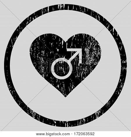 Male Love Heart grainy textured icon for overlay watermark stamps. Rounded flat vector symbol with dirty texture. Circled black ink rubber seal stamp with grunge design on a light gray background.