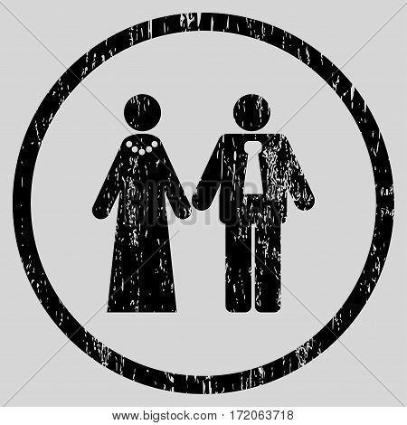 Newlyweds grainy textured icon for overlay watermark stamps. Rounded flat vector symbol with dirty texture. Circled black ink rubber seal stamp with grunge design on a light gray background.