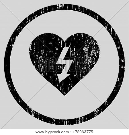 Power Love Heart grainy textured icon for overlay watermark stamps. Rounded flat vector symbol with unclean texture. Circled black ink rubber seal stamp with grunge design on a light gray background.