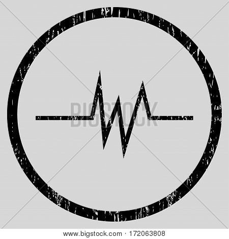 Pulse Signal grainy textured icon for overlay watermark stamps. Rounded flat vector symbol with scratched texture. Circled black ink rubber seal stamp with grunge design on a light gray background.