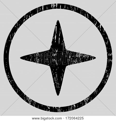 Sparkle Star grainy textured icon for overlay watermark stamps. Rounded flat vector symbol with dust texture. Circled black ink rubber seal stamp with grunge design on a light gray background.