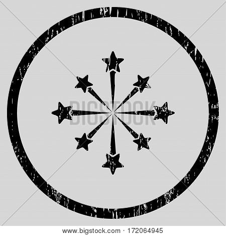 Star Burst Fireworks grainy textured icon for overlay watermark stamps. Rounded flat vector symbol with scratched texture.
