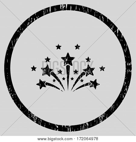Star Fireworks grainy textured icon for overlay watermark stamps. Rounded flat vector symbol with dirty texture. Circled black ink rubber seal stamp with grunge design on a light gray background.