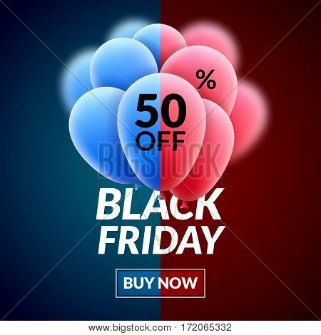 Black Friday Sale concept poster. Vector Balloon clearance discount advertising. Marketing sale background.